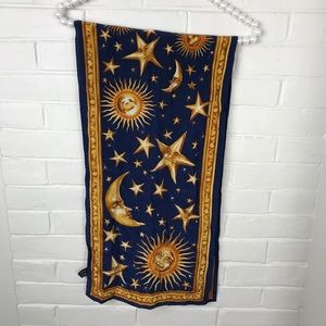 {Vintage} Astrology Sun Moon Stars Printed Scarf